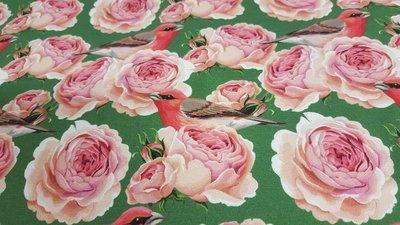 Vogeltje met grote rozen Stenzo